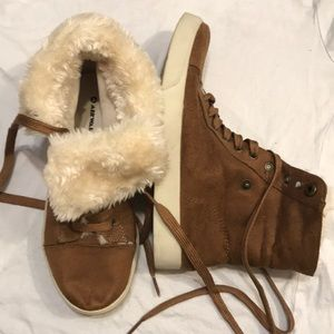 Adorable faux suede fur fold top sneakers